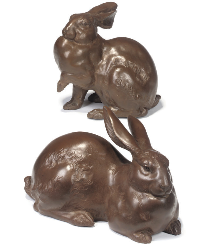 TWO JAPANESE BRONZE RABBITS