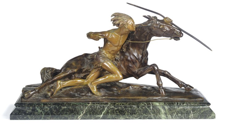 A FRENCH BRONZE GROUP OF AN AM