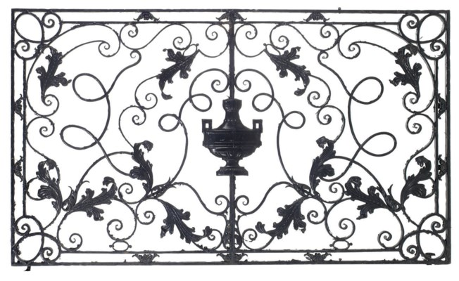 A BLACK-PAINTED WROUGHT-IRON S