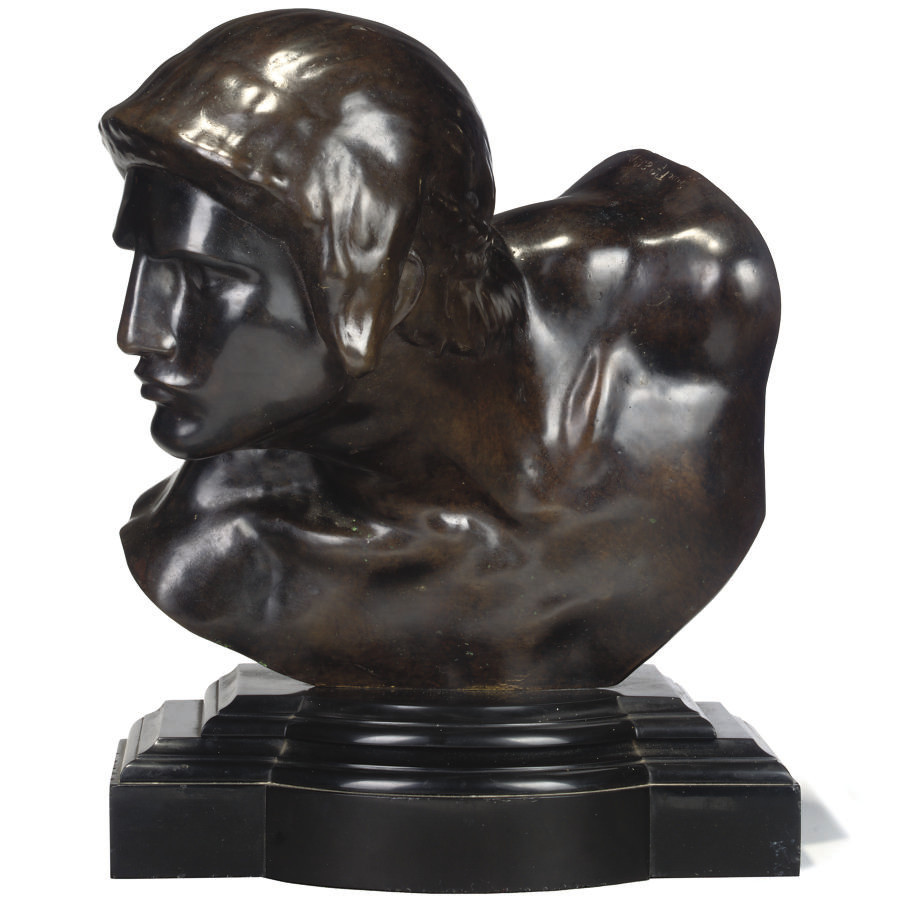 A FRENCH BRONZE BUST OF A GLAD
