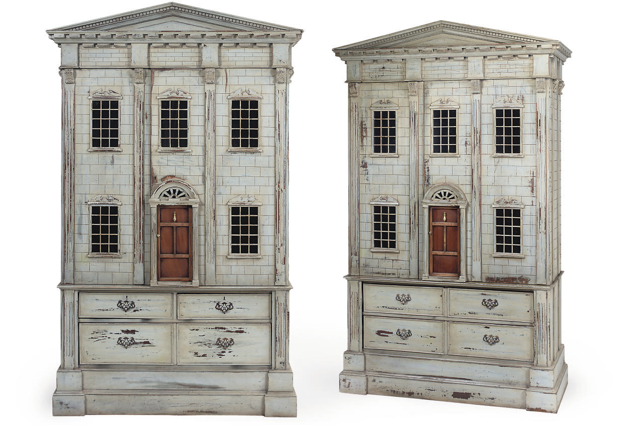 A PAIR OF PAINTED DOLL'S HOUSE