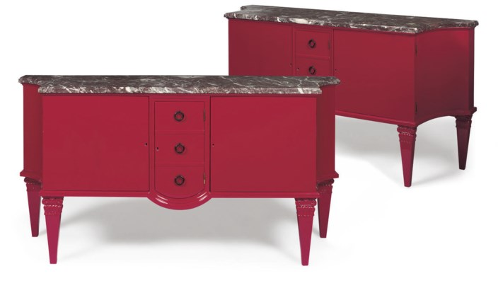 A PAIR OF LARGE RED AND MARBLE