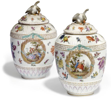 TWO BERLIN OVIFORM VASES AND C