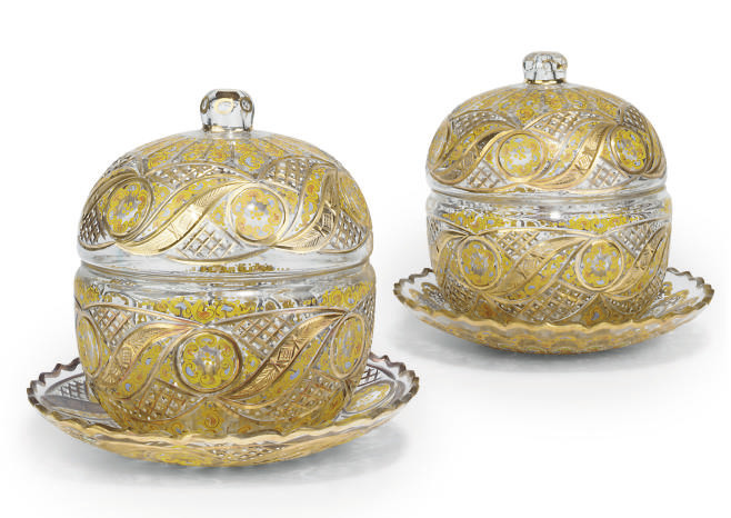 A PAIR OF CUT-GLASS BOWLS ON S
