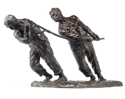 A BELGIAN BRONZE GROUP OF LES