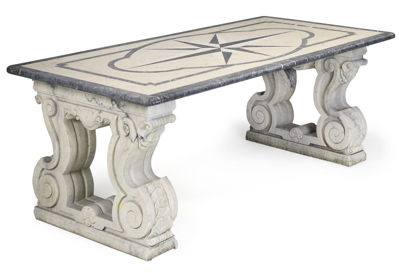 A WHITE MARBLE AND INLAID LIME