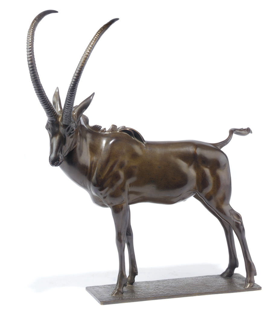 A GERMAN BRONZE IBEX ENTITLED