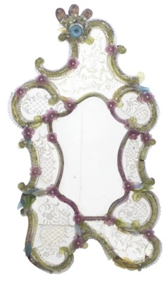 A VENETIAN COLOURED GLASS AND