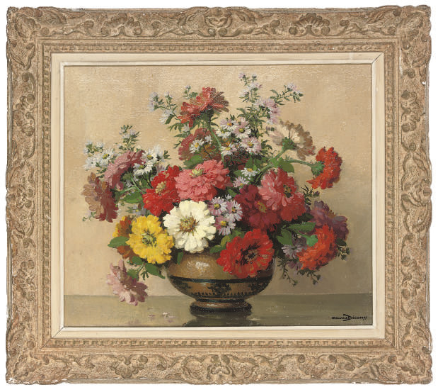 Poppies, daisies and asters in a vase