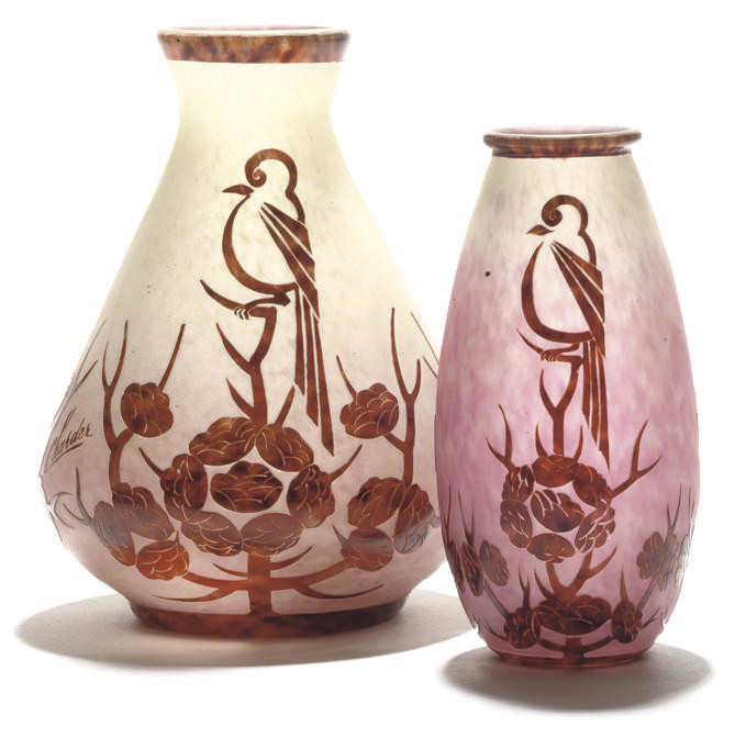 TWO CHARDER CAMEO GLASS VASES