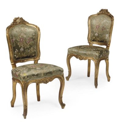 A PAIR OF GILTWOOD SIDE CHAIRS