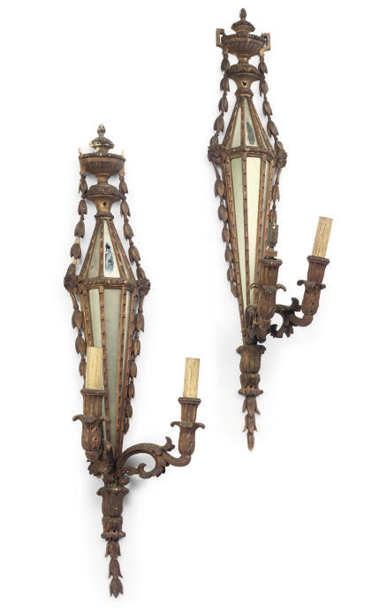 A PAIR OF EDWARDIAN MIRROR-BAC