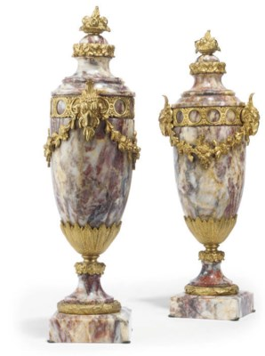 A PAIR OF FRENCH PINK MARBLE A
