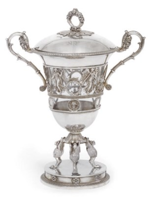 A FRENCH SILVER SUGAR VASE AND