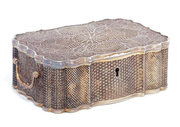 A BATAVIAN SILVER-GILT CASKET