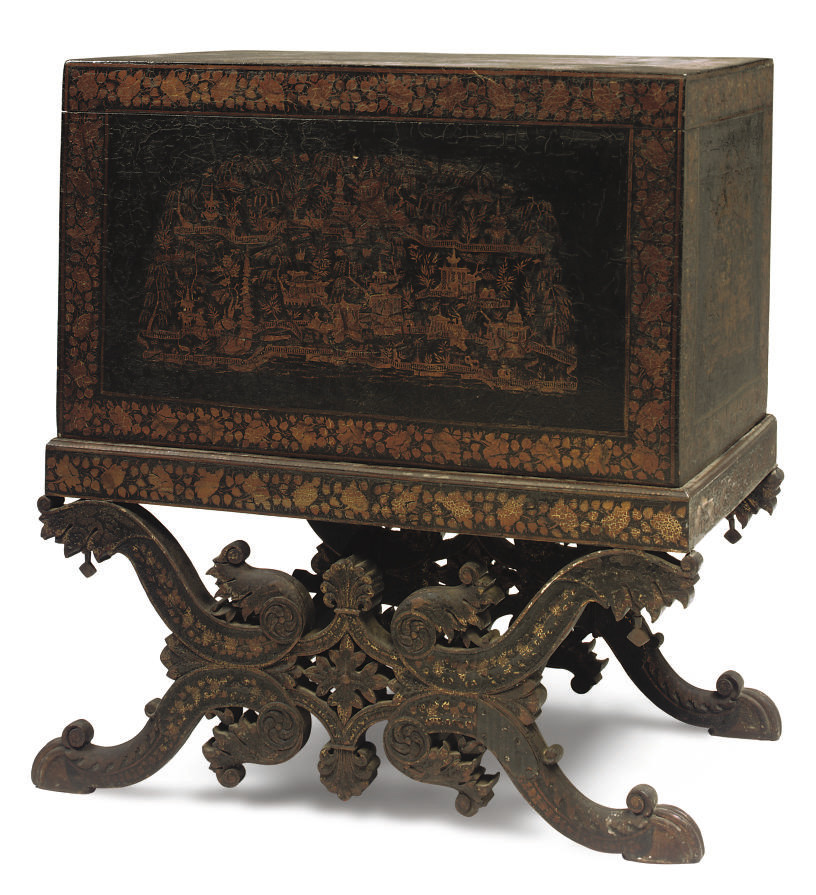 AN ANGLO INDIAN LACQUERED AND