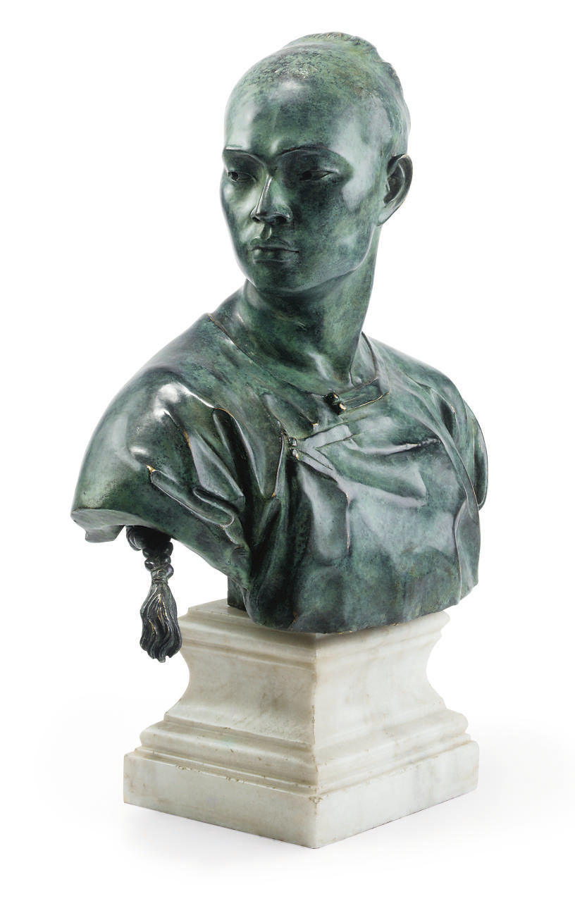 A FRENCH BRONZE BUST OF AN ORI