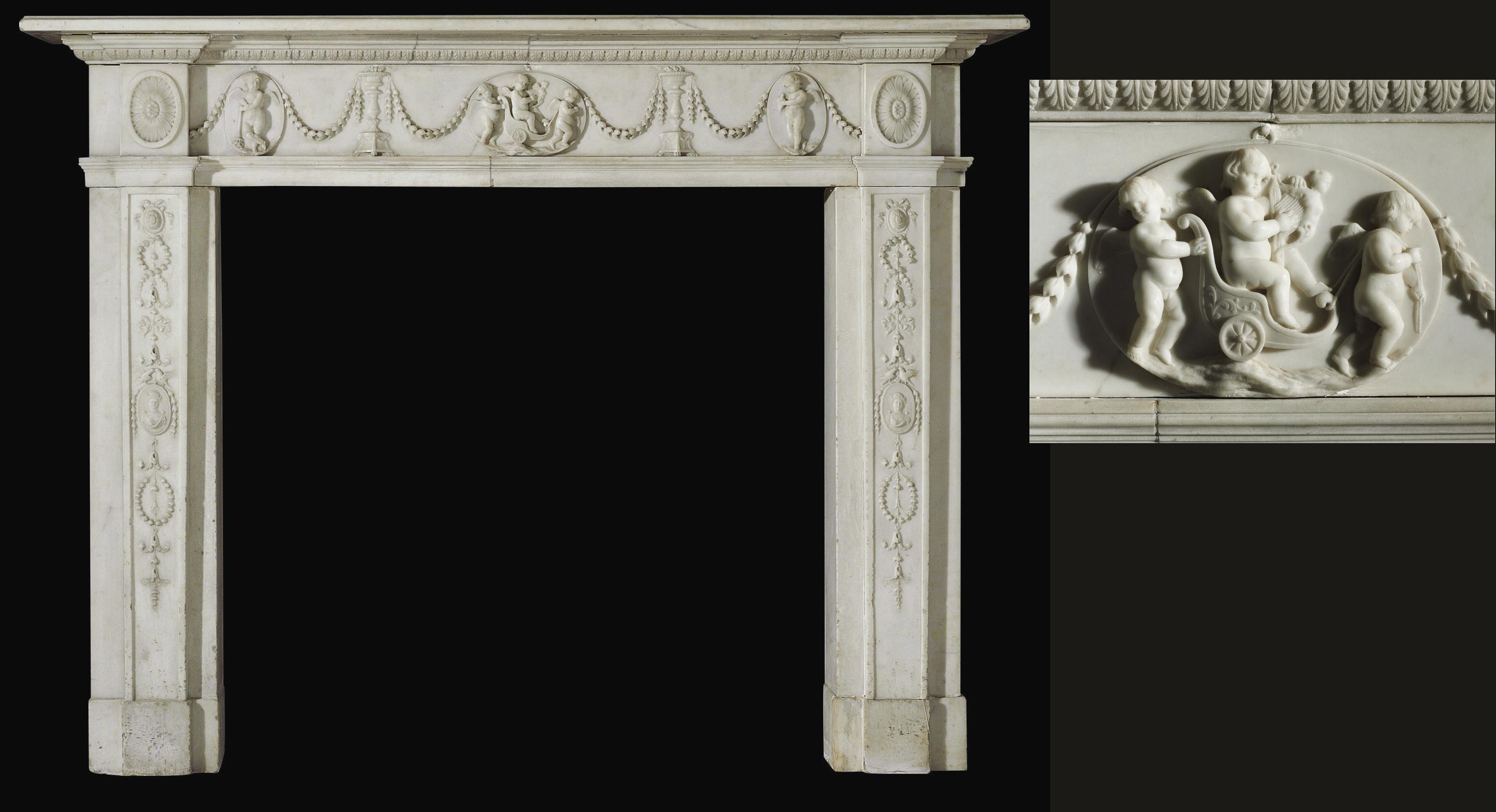 A GEORGE III WHITE STATUARY MA