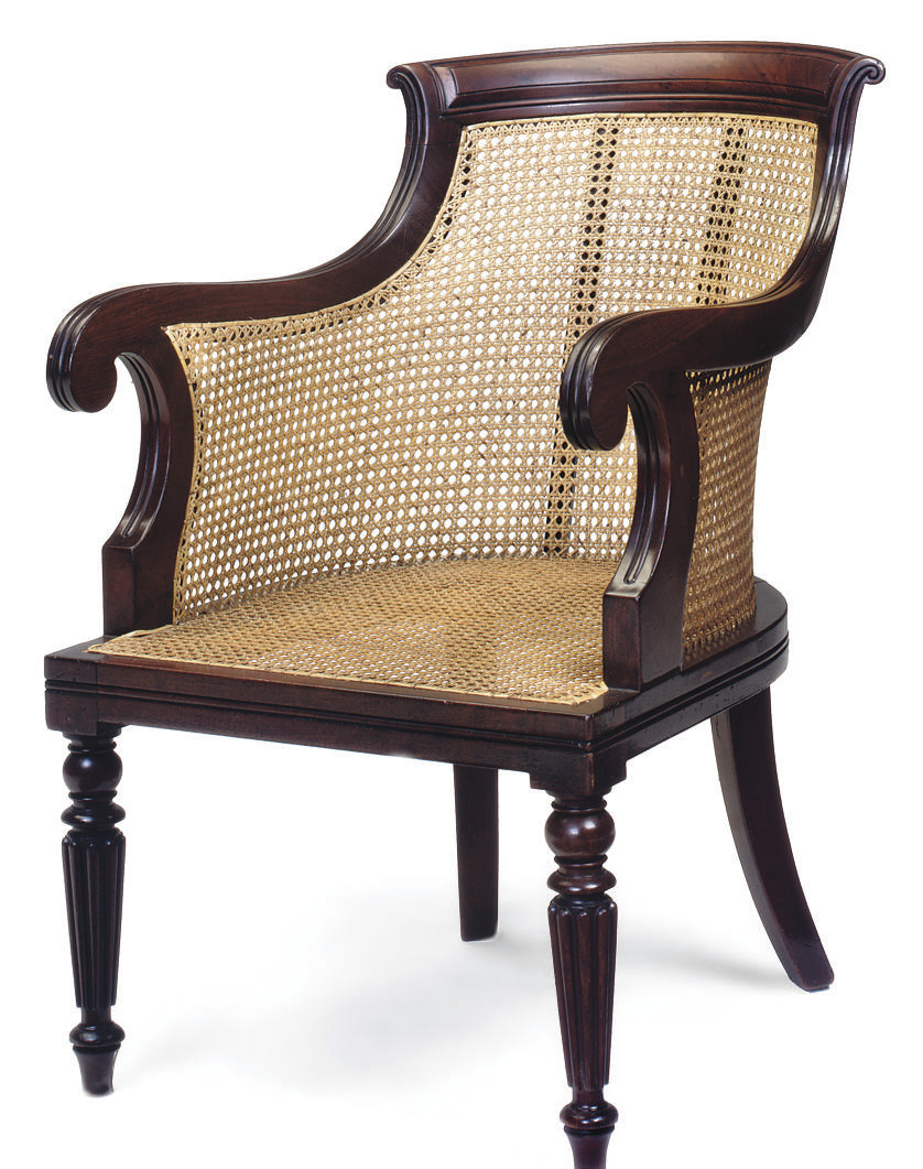 A GEORGE IV MAHOGANY AND CANED