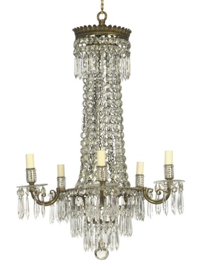 A BRASS AND GLASS FIVE-LIGHT C