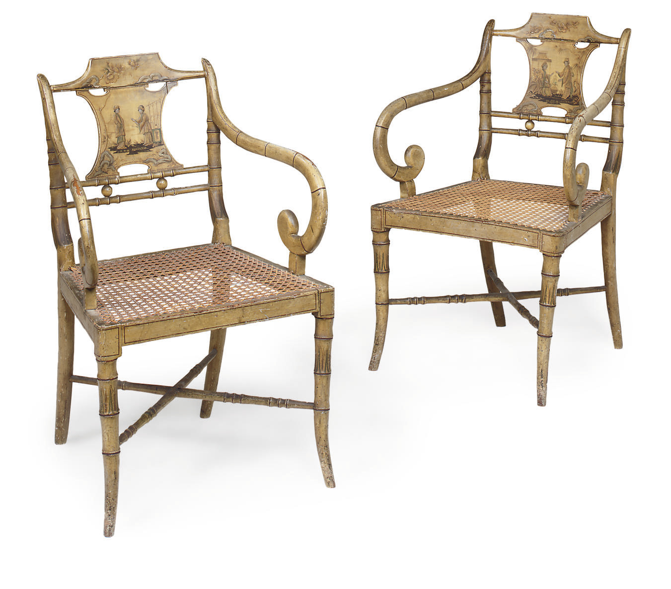 A PAIR OF REGENCY PAINTED AND