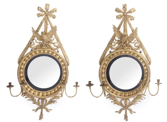 A PAIR OF GILTWOOD CONVEX GIRA