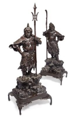 A Pair of Japanese Bronze figu