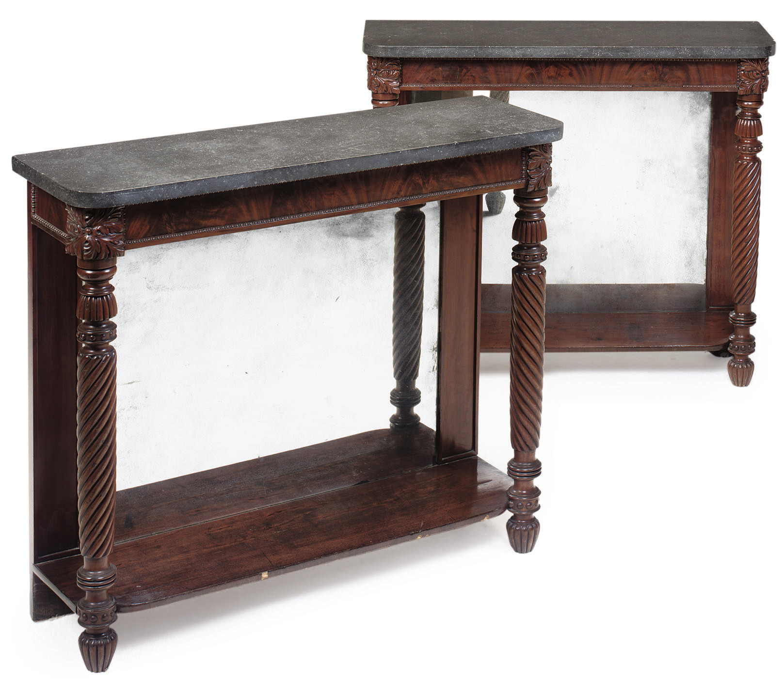 A PAIR OF MAHOGANY CONSOLE TAB