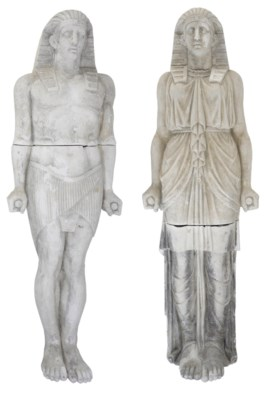 A PAIR OF PLASTER FIGURES OF E