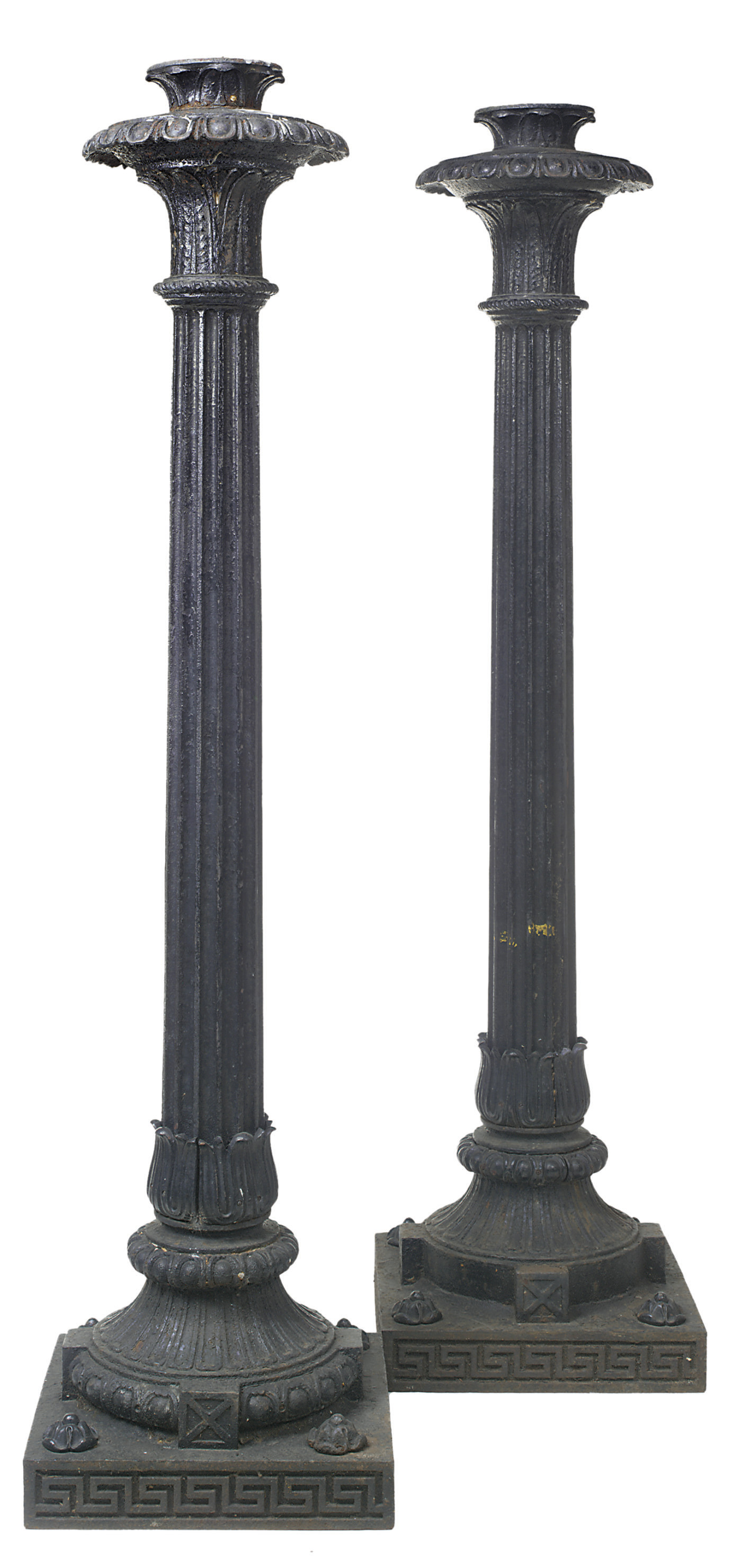 A PAIR OF LATE REGENCY BLACK-P