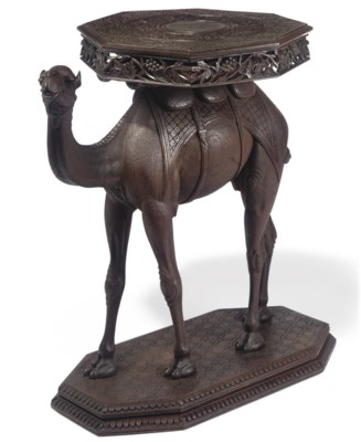 AN ANGLO-INDIAN CARVED TEAK OC