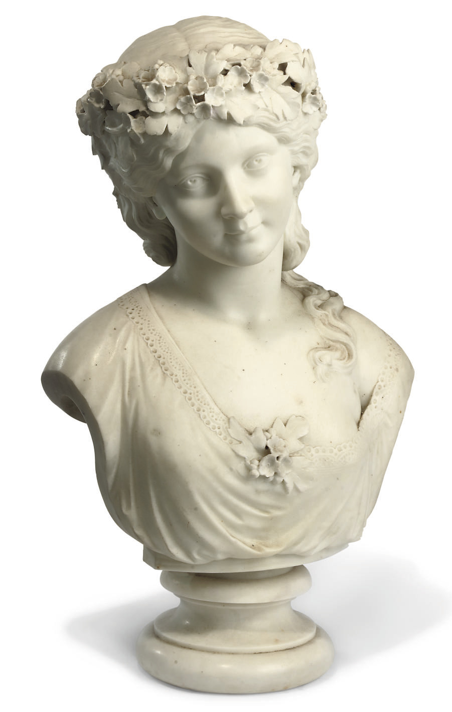 A VICTORIAN MARBLE BUST OF A G