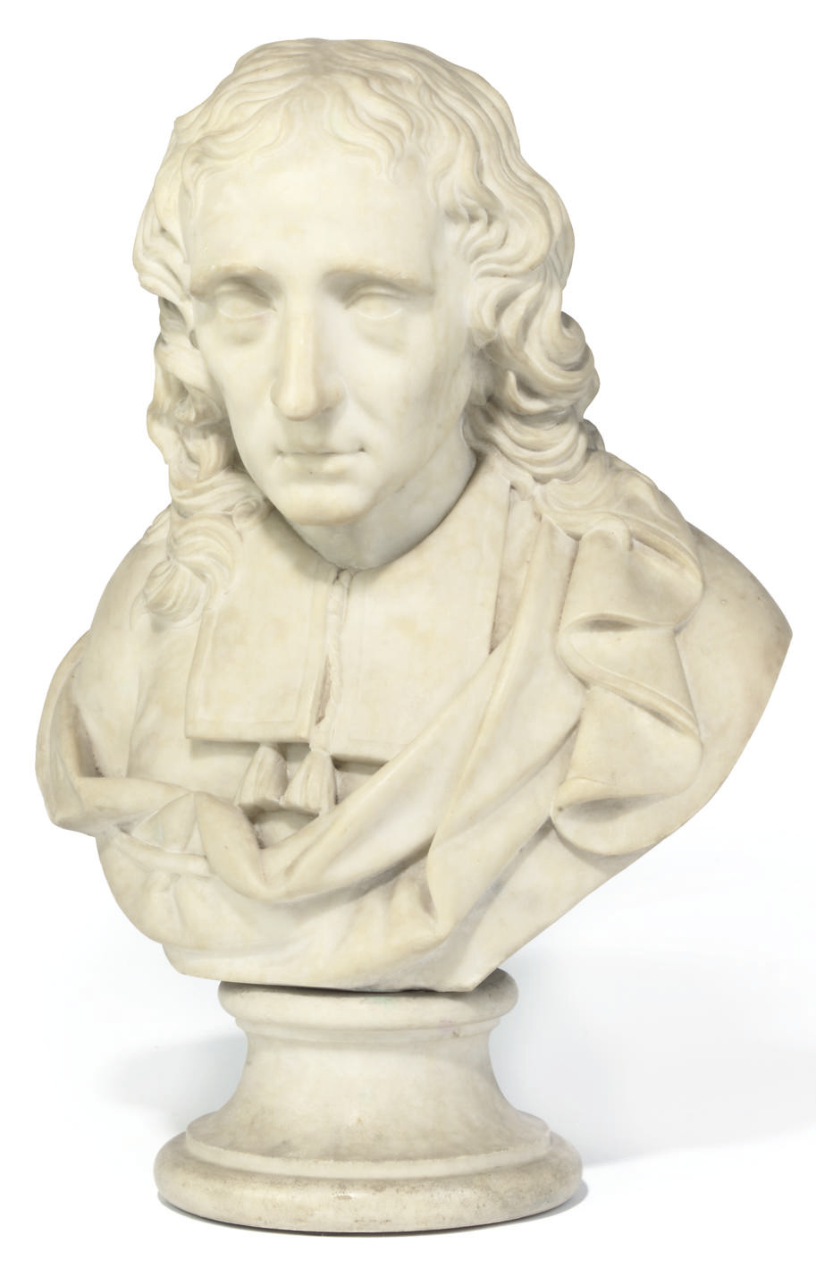 A WHITE MARBLE BUST OF MILTON