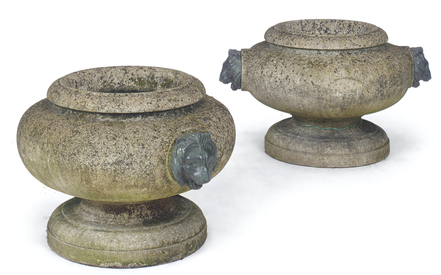 A PAIR OF STONE URNS