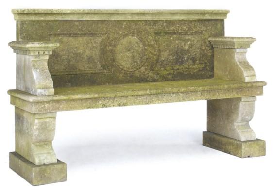 A LIMESTONE GARDEN SEAT