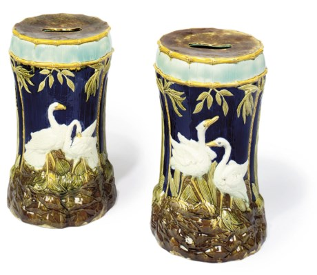 A PAIR OF ENGLISH MAJOLICA COB