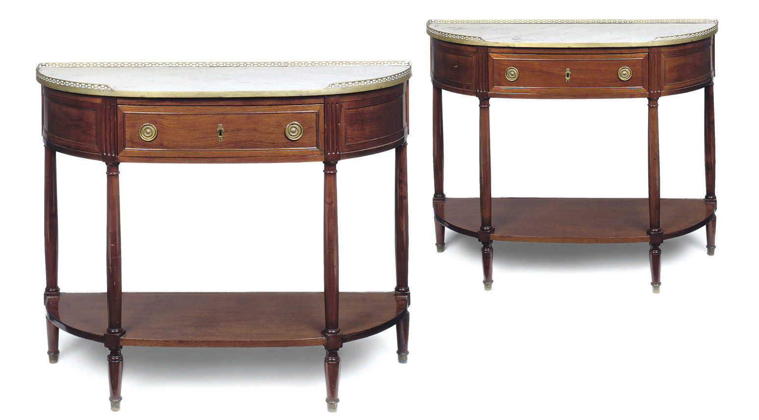 A PAIR OF FRENCH MAHOGANY CONS