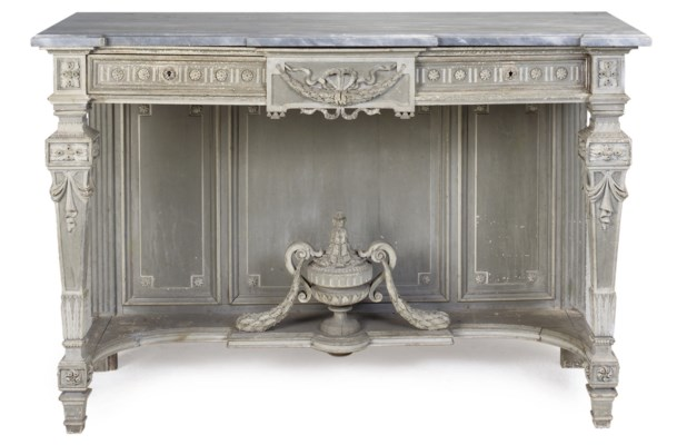 A FRENCH GREY PAINTED CONSOLE