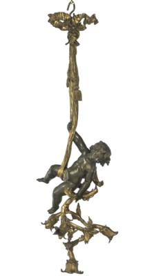 A FRENCH GILT AND PATINATED BR