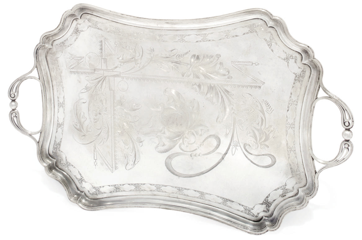 A RUSSIAN SILVER TWO-HANDLED TRAY