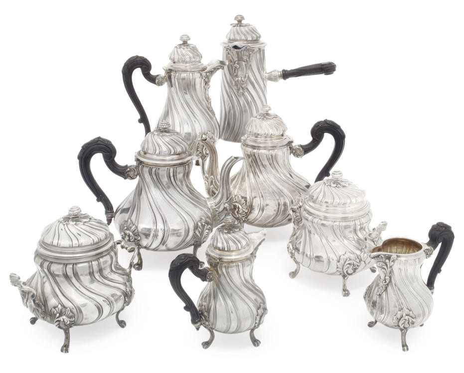 A FRENCH EIGHT-PIECE SILVER TEA AND COFFEE SET
