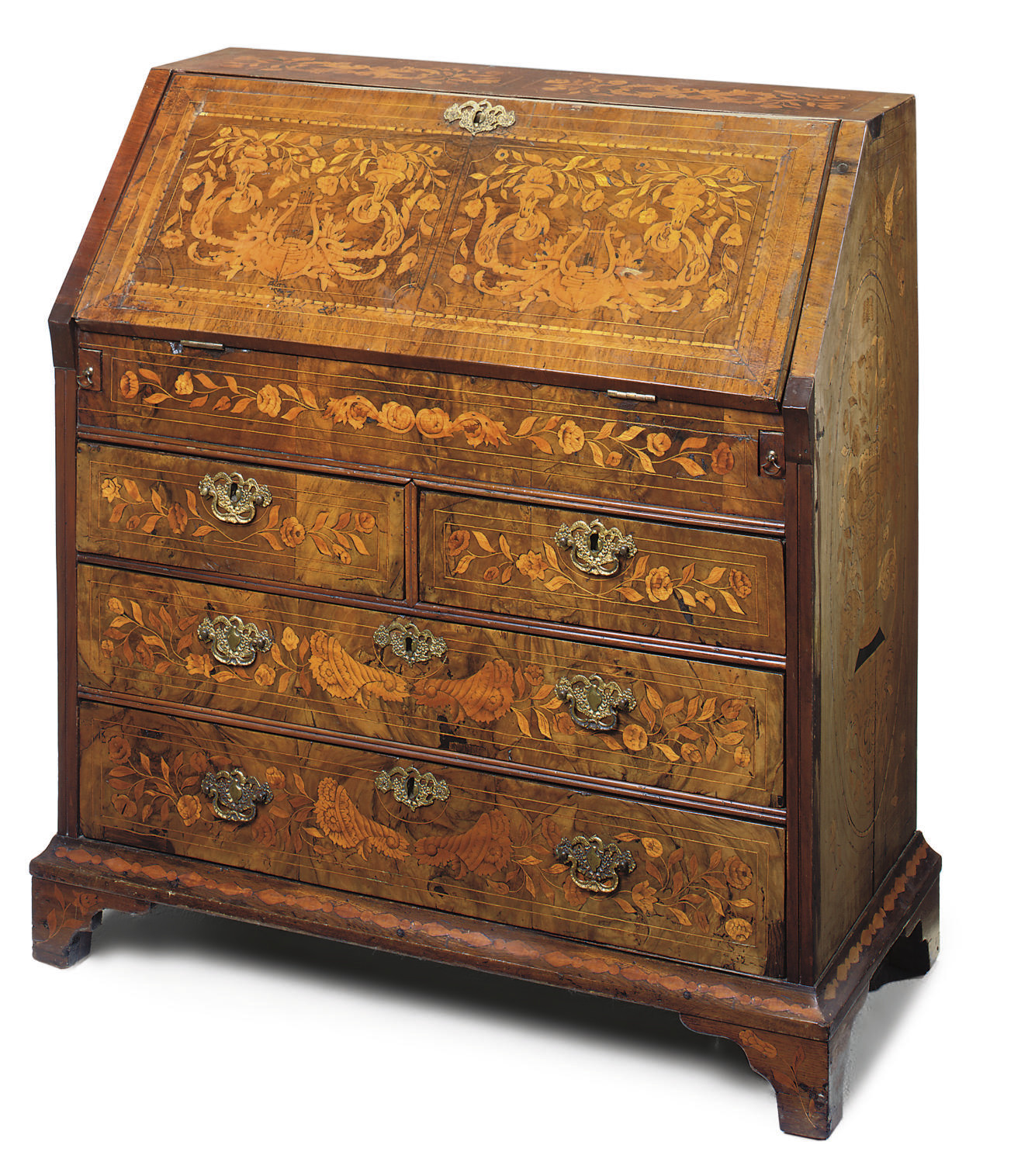 A DUTCH WALNUT AND MARQUETRY B