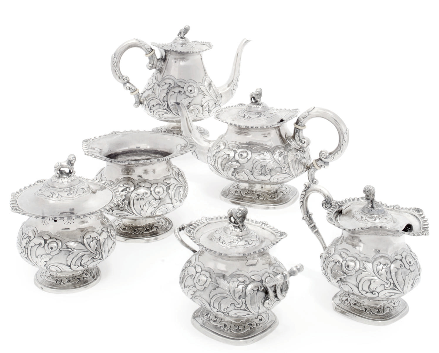 A PORTUGESE SIX-PIECE SILVER T