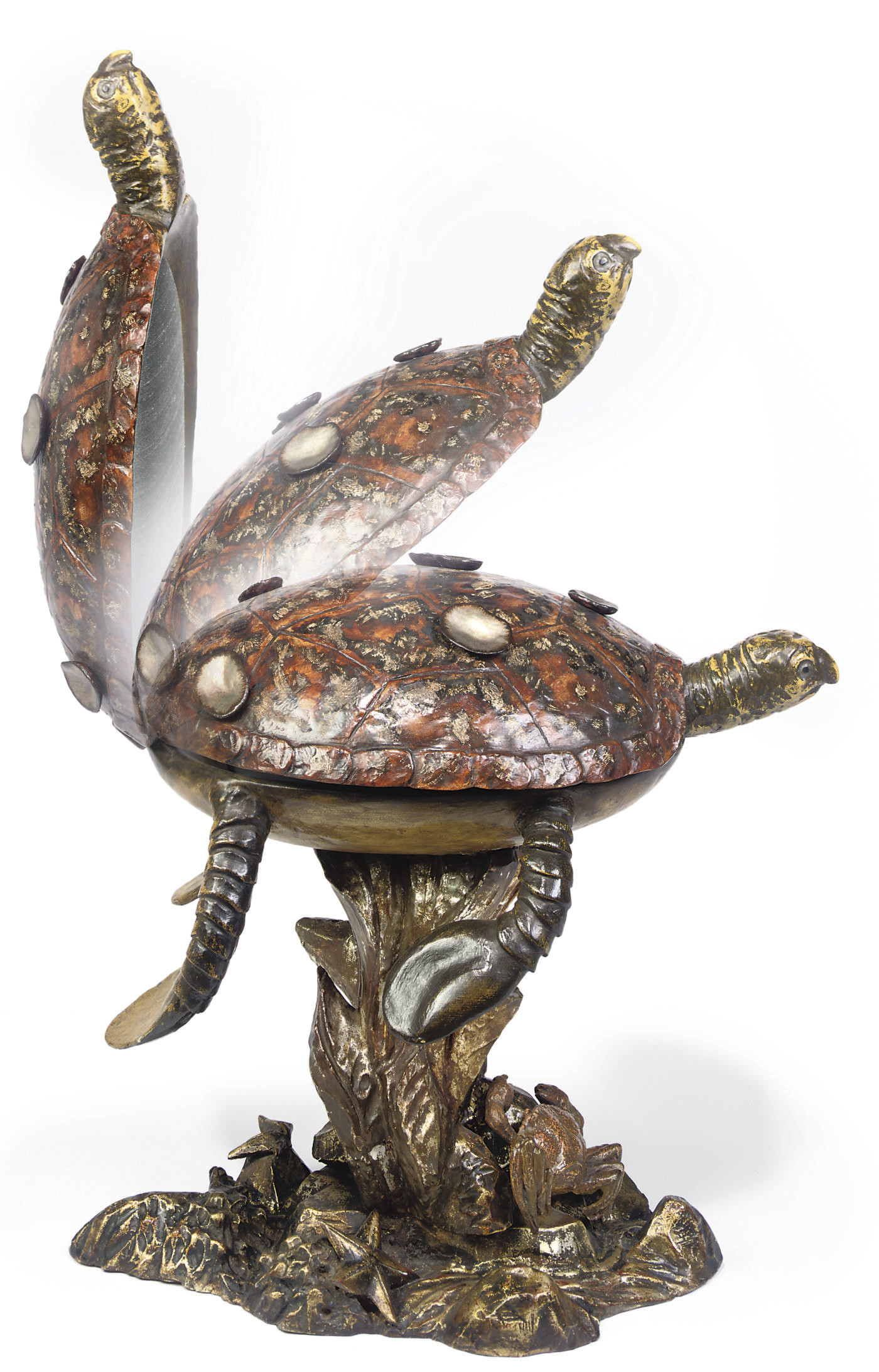 A VENETIAN DECORATED TURTLE CH