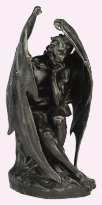 A FRENCH BRONZE MODEL OF SATAN