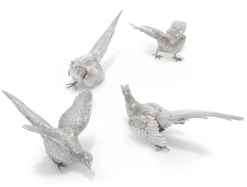 TWO PAIRS OF SILVER PHEASANT T