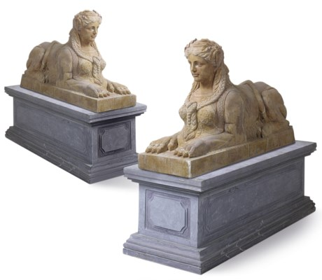 A PAIR OF MARBLE SPHINXES