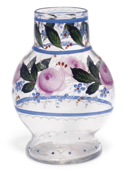 AN ENAMELLED CLEAR GLASS VASE