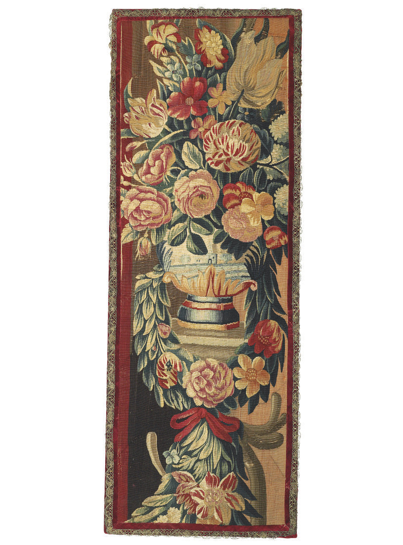 A MOUNTED TAPESTRY FRAGMENT