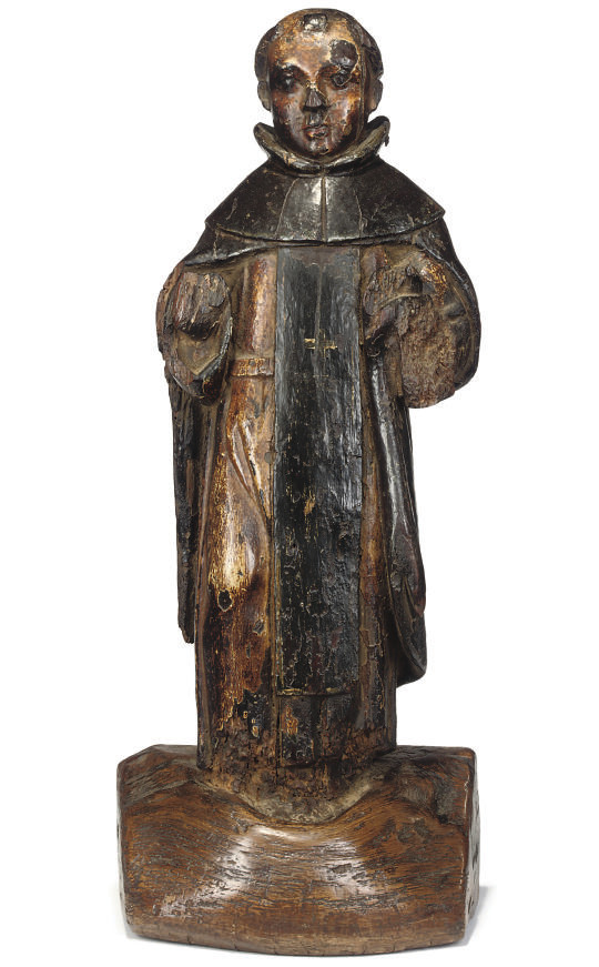 A SPANISH COLONIAL WOOD FIGURE